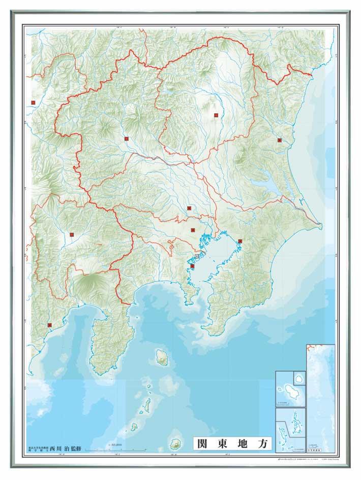 日本地方別白地図 レリーフ入り ( ボード ) 関東地方