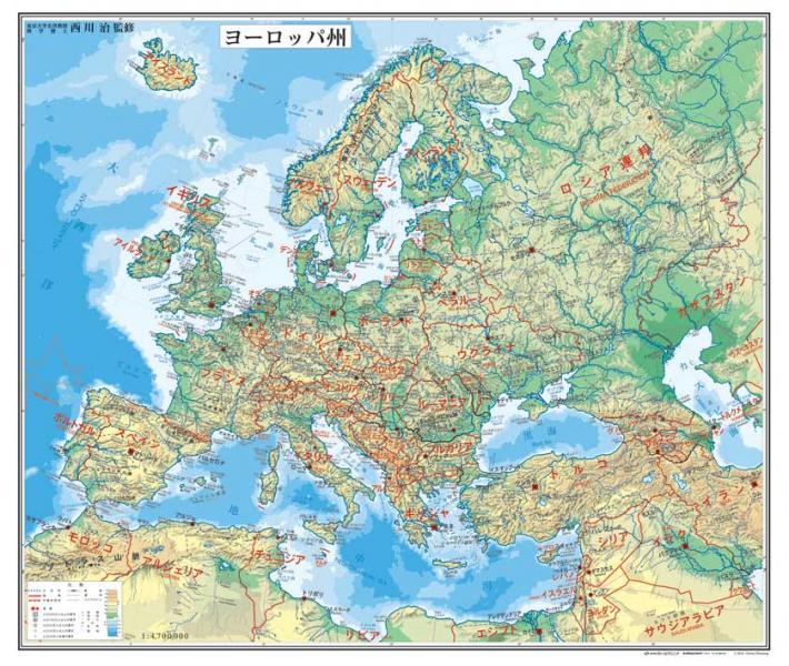 ヨーロッパ州図 タペストリー 世界州別地図 地図のご購入
