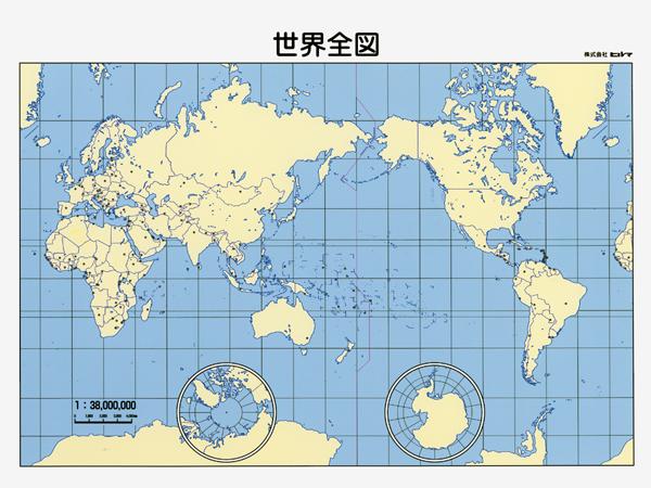 世界全図 普及版 白地図 マグシート 世界地図 地図のご