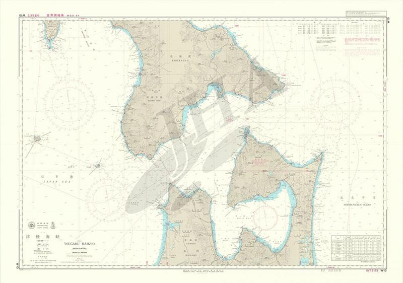 津軽海峡 画像を拡大する 津軽海峡   航海用海図 - 本州北部 W10   メ...  本州北